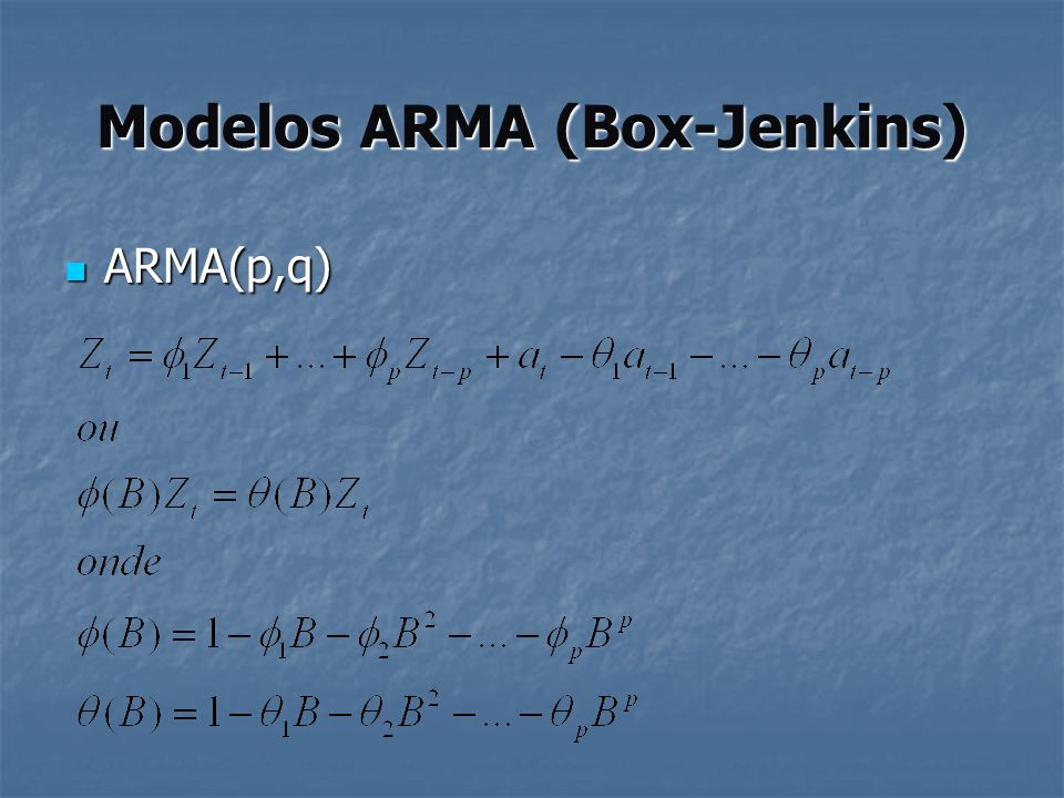 Modelos ARMA (Box-Jenkins) Filtro linear Filtro linear Filtro linear atat ztzt Ψ(B) Z t =μ+a t +ψ 1 a t-1 + ψ 2 a t-2 +...=μ+ ψ(B) a t Onde ψ(B)=1+ψ 1 B+ ψ 2 B 2 +...