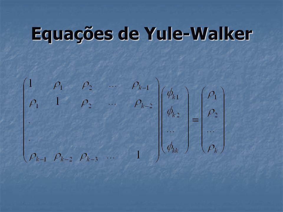 Função de autocorrelação parcial Resolvendo para k =1,2,3...