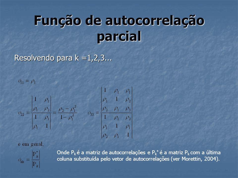 Função de autocorrelação parcial Resolvendo para k =1,2,3... Onde P k é a matriz de autocorrelações e P k * é a matriz P k com a última coluna substit