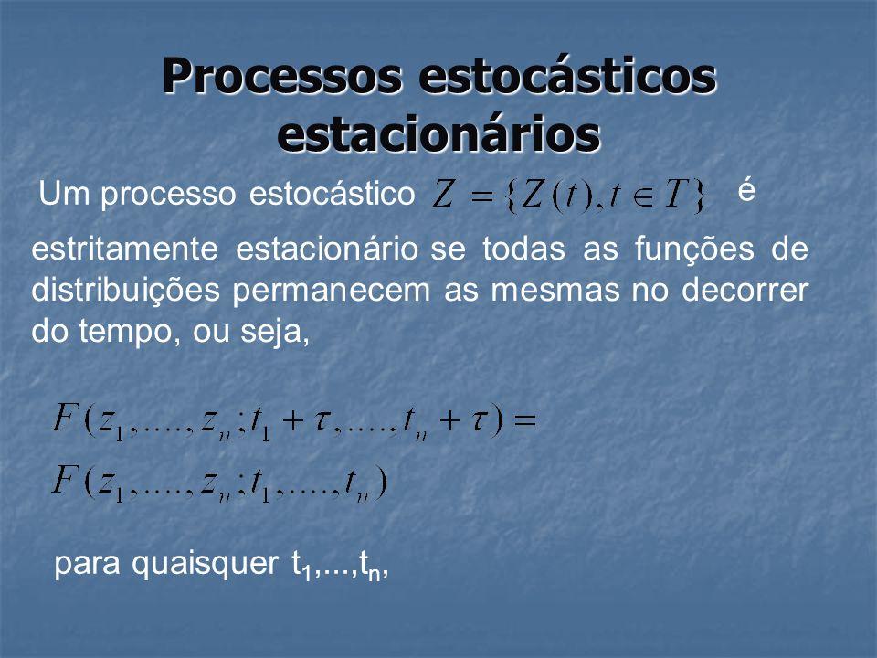 Processo estocástico estacionário Todas as distribuições univariadas são invariantes no tempo: µ(t)=µ,V(t)=σ 2 para todo Podemos também supor que µ=0 ou, de forma alternativa, considerar o processo {Z(t)-µ} Como