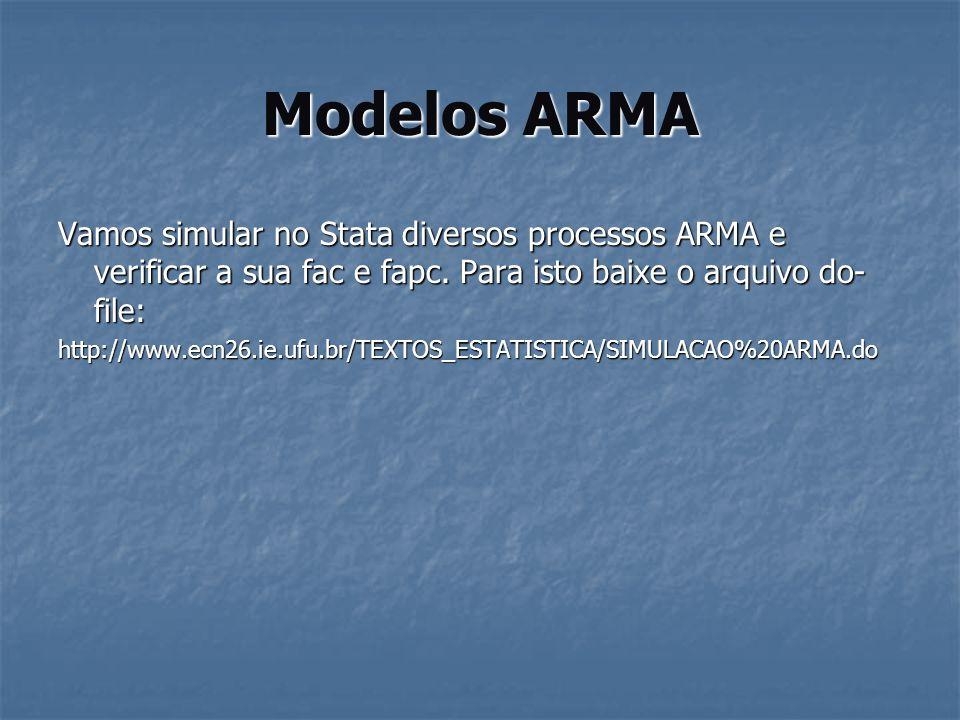Modelos ARMA Vamos simular no Stata diversos processos ARMA e verificar a sua fac e fapc. Para isto baixe o arquivo do- file: http://www.ecn26.ie.ufu.
