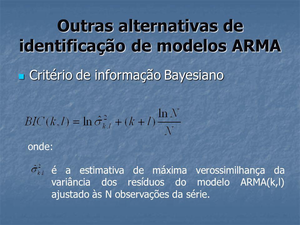 Outras alternativas de identificação de modelos ARMA Critério de informação Bayesiano Critério de informação Bayesiano onde: é a estimativa de máxima