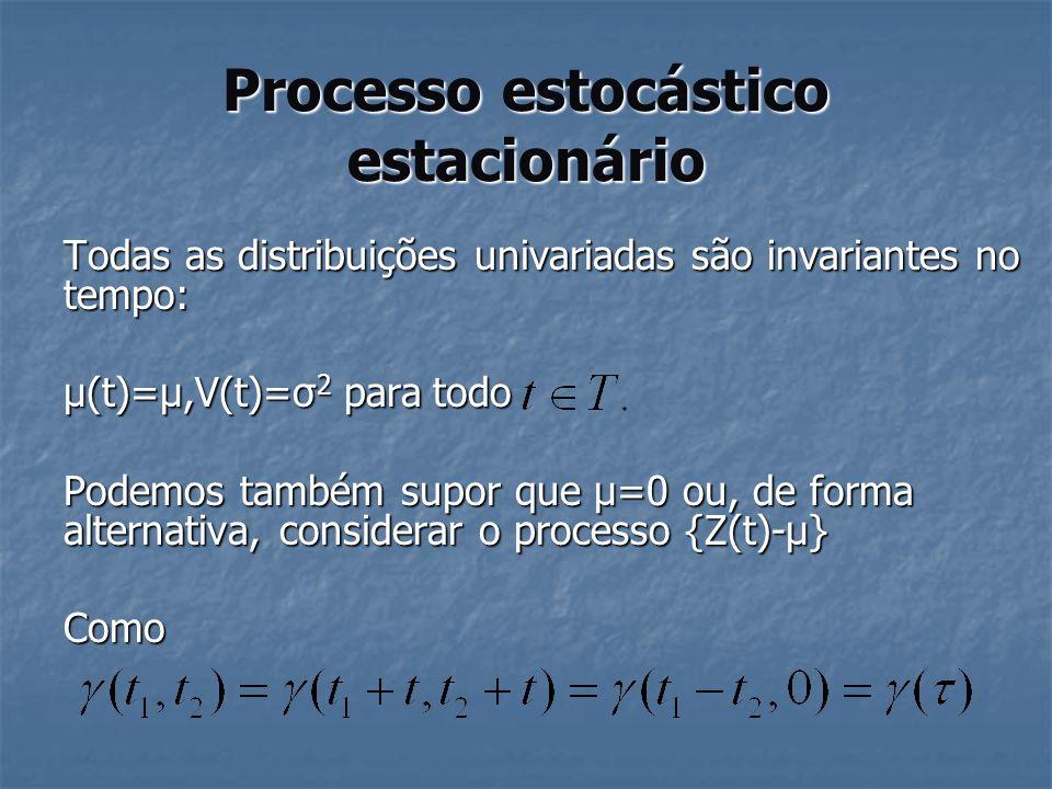 Processo estocástico estacionário Todas as distribuições univariadas são invariantes no tempo: µ(t)=µ,V(t)=σ 2 para todo Podemos também supor que µ=0
