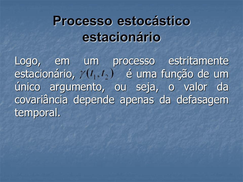 Processo estocástico estacionário Logo, em um processo estritamente estacionário, é uma função de um único argumento, ou seja, o valor da covariância