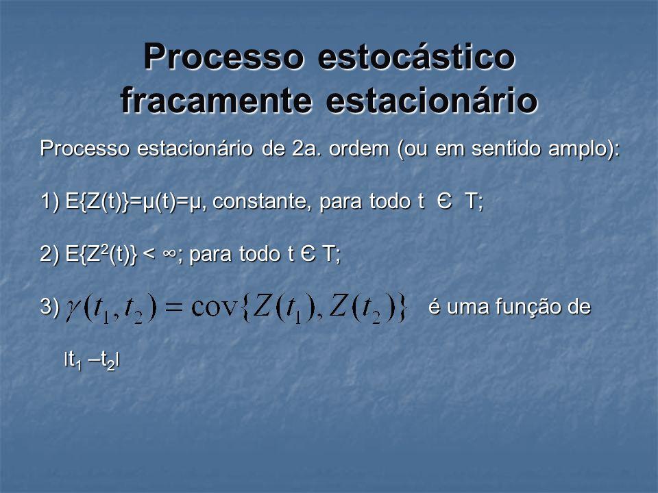 Processo estocástico fracamente estacionário Processo estacionário de 2a. ordem (ou em sentido amplo): 1) E{Z(t)}=µ(t)=µ, constante, para todo t Є T;