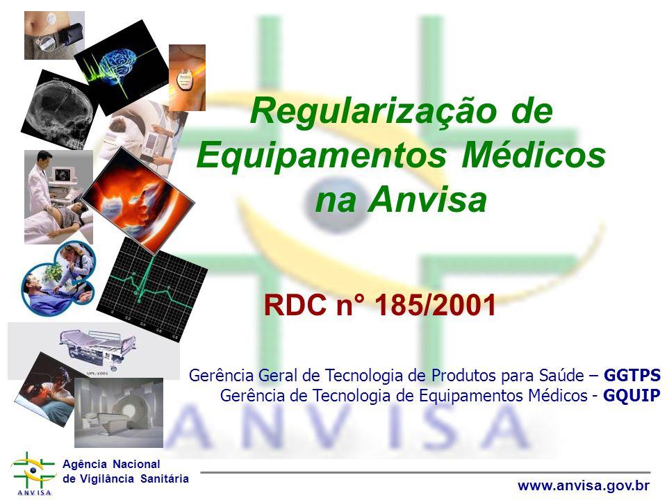 Agência Nacional de Vigilância Sanitária www.anvisa.gov.br Regularização de Equipamentos Médicos na Anvisa RDC n° 185/2001 Gerência Geral de Tecnologi
