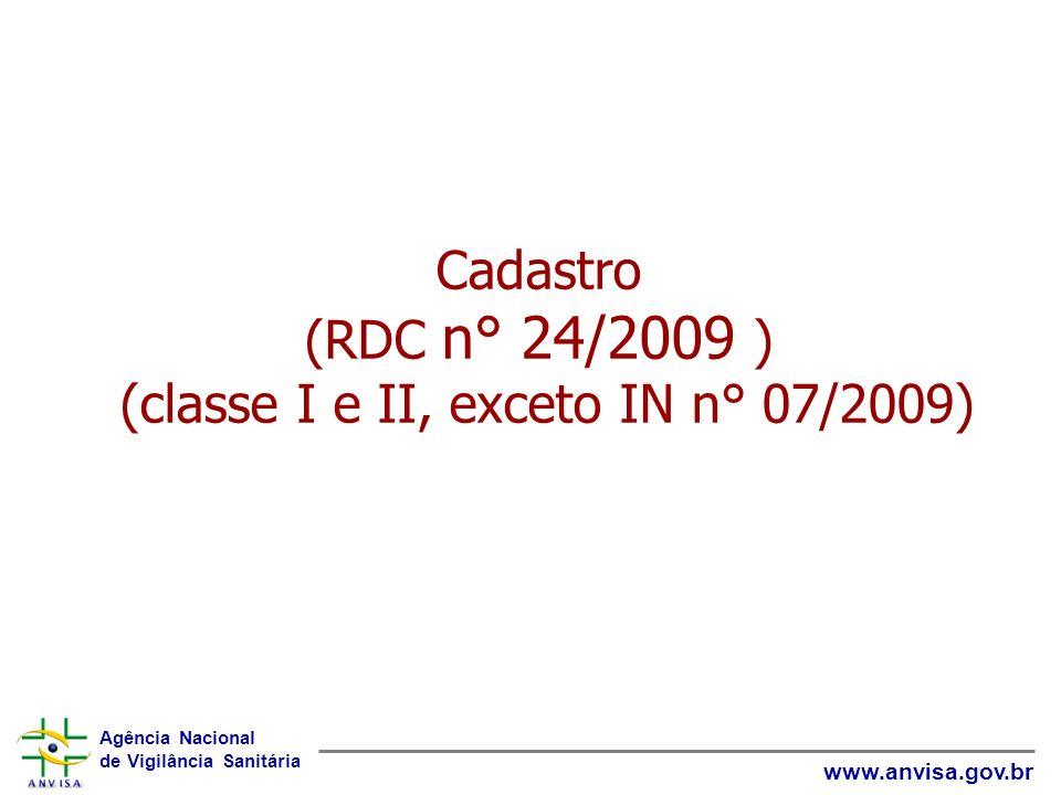 Agência Nacional de Vigilância Sanitária www.anvisa.gov.br Cadastro (RDC n° 24/2009 ) (classe I e II, exceto IN n° 07/2009)