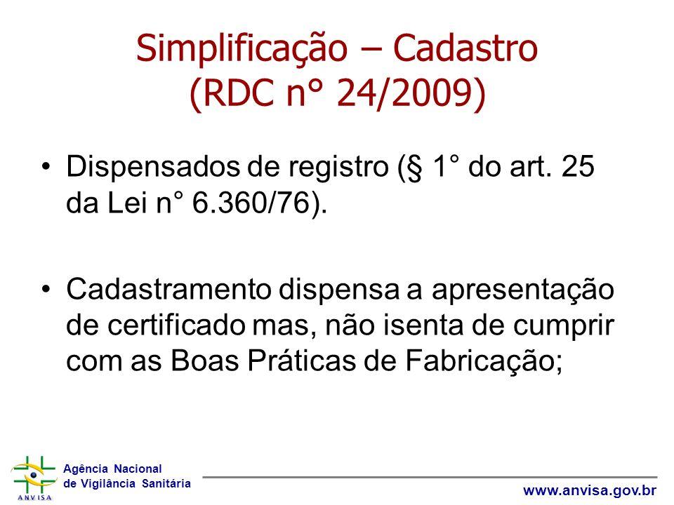 Agência Nacional de Vigilância Sanitária www.anvisa.gov.br Simplificação – Cadastro (RDC n° 24/2009) Dispensados de registro (§ 1° do art. 25 da Lei n