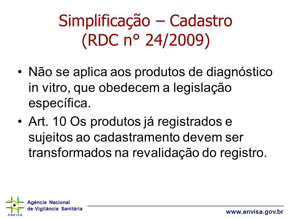Agência Nacional de Vigilância Sanitária www.anvisa.gov.br Simplificação – Cadastro (RDC n° 24/2009) Não se aplica aos produtos de diagnóstico in vitr