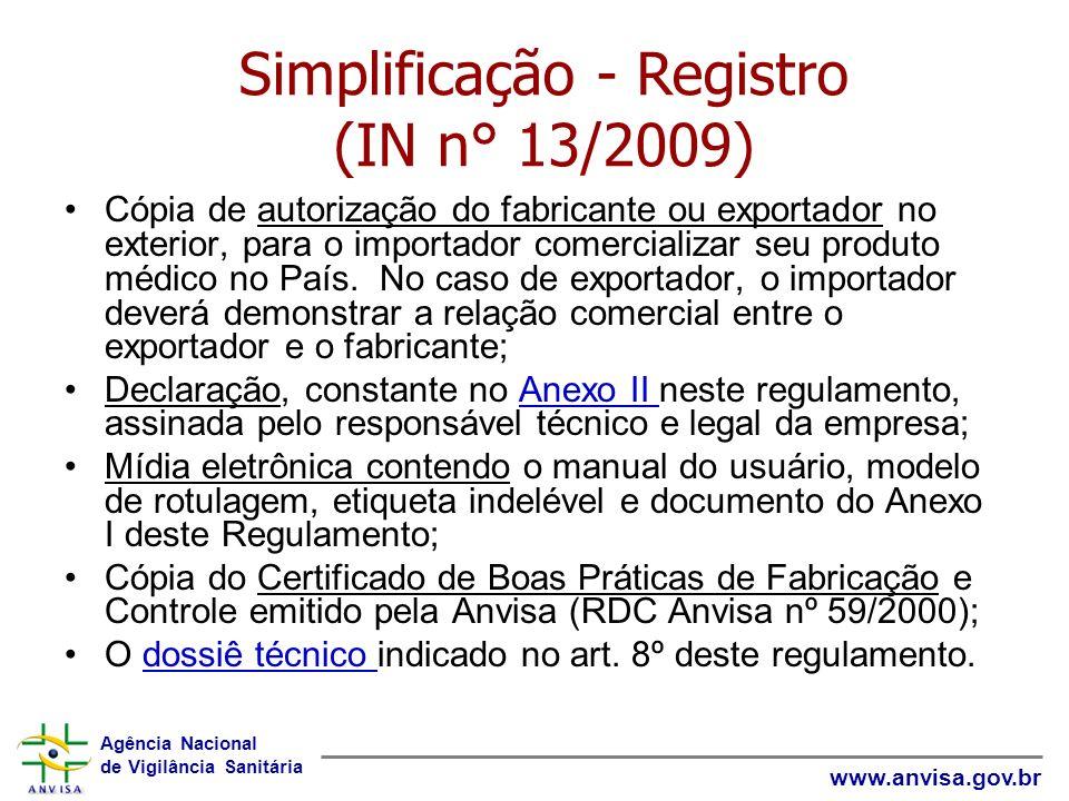 Agência Nacional de Vigilância Sanitária www.anvisa.gov.br Cópia de autorização do fabricante ou exportador no exterior, para o importador comercializ