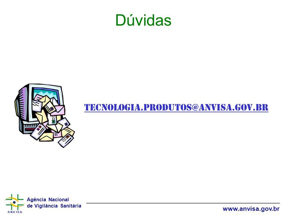Agência Nacional de Vigilância Sanitária www.anvisa.gov.br Dúvidas tecnologia.produtos@anvisa.gov.br