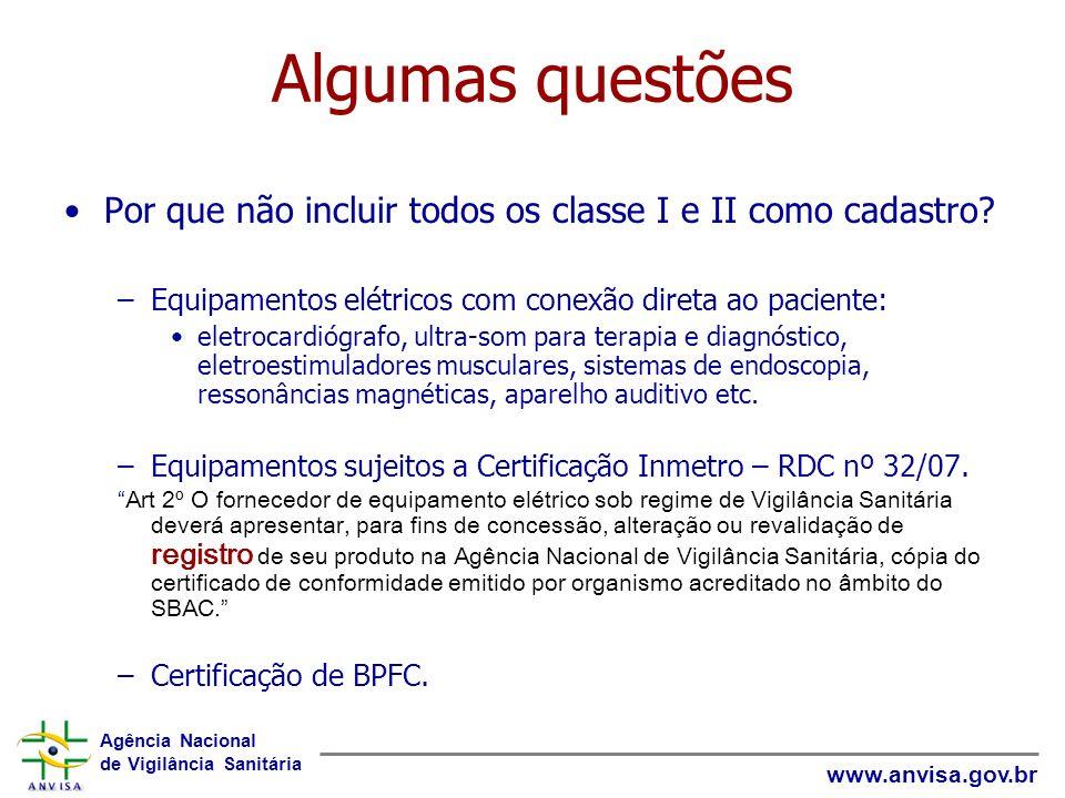 Agência Nacional de Vigilância Sanitária www.anvisa.gov.br Algumas questões Por que não incluir todos os classe I e II como cadastro? –Equipamentos el