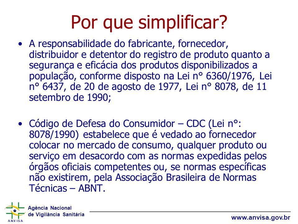 Agência Nacional de Vigilância Sanitária www.anvisa.gov.br Por que simplificar? A responsabilidade do fabricante, fornecedor, distribuidor e detentor