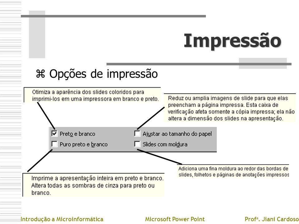 Impressão z Opções de impressão Introdução a MicroinformáticaMicrosoft Power PointProf a. Jiani Cardoso