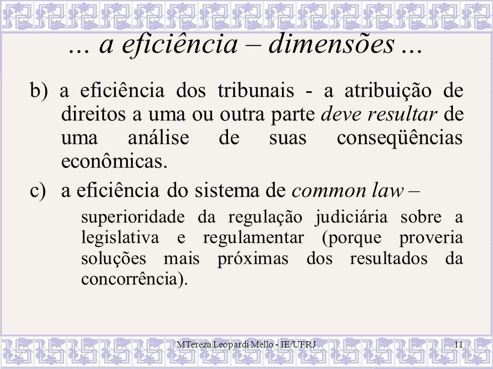 MTereza Leopardi Mello - IE/UFRJ11... a eficiência – dimensões... b) a eficiência dos tribunais - a atribuição de direitos a uma ou outra parte deve r