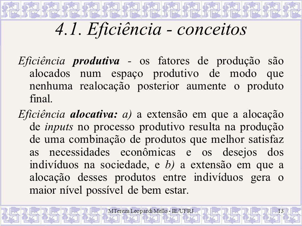 MTereza Leopardi Mello - IE/UFRJ13 4.1. Eficiência - conceitos Eficiência produtiva - os fatores de produção são alocados num espaço produtivo de modo