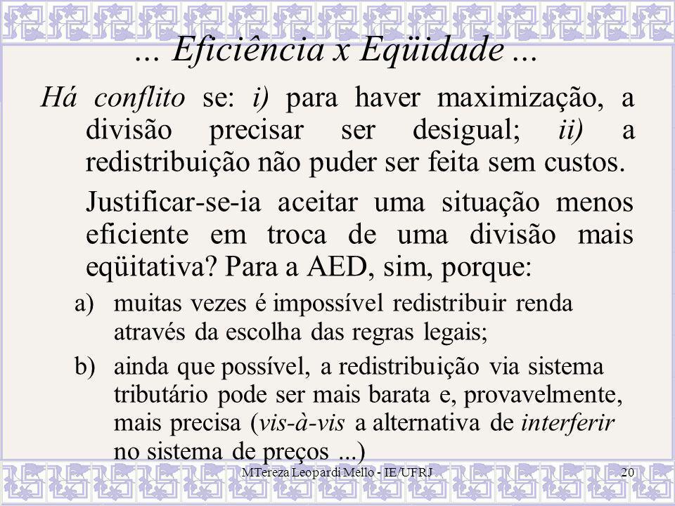 MTereza Leopardi Mello - IE/UFRJ20... Eficiência x Eqüidade... Há conflito se: i) para haver maximização, a divisão precisar ser desigual; ii) a redis