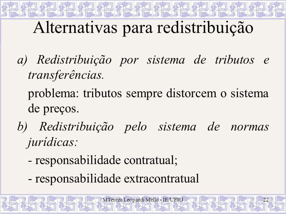 MTereza Leopardi Mello - IE/UFRJ22 Alternativas para redistribuição a) Redistribuição por sistema de tributos e transferências. problema: tributos sem