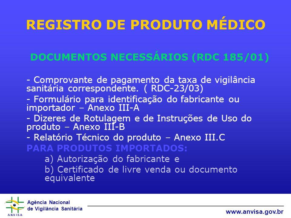 Agência Nacional de Vigilância Sanitária www.anvisa.gov.br REGISTRO DE PRODUTO MÉDICO DOCUMENTOS NECESSÁRIOS (RDC 185/01) - Comprovante de pagamento da taxa de vigilância sanitária correspondente.