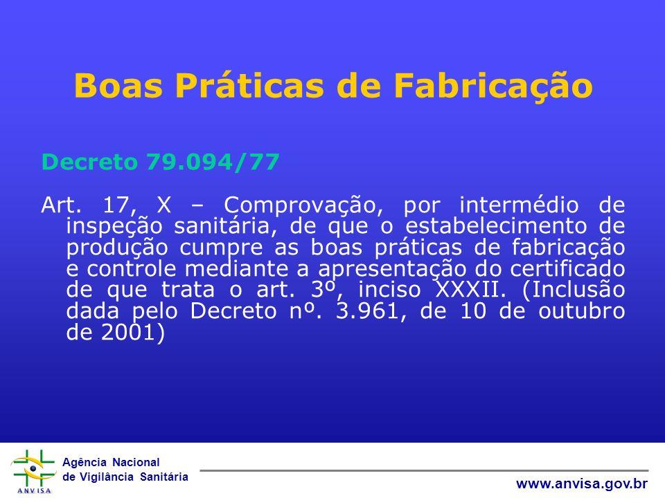 Agência Nacional de Vigilância Sanitária www.anvisa.gov.br Boas Práticas de Fabricação Decreto 79.094/77 Art.