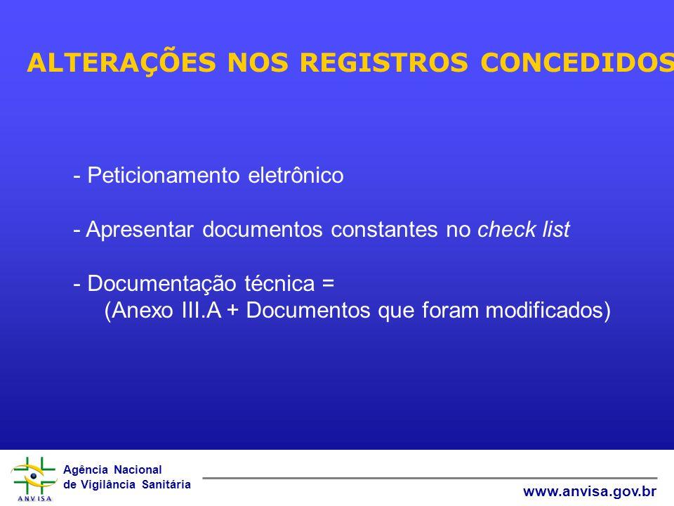 Agência Nacional de Vigilância Sanitária www.anvisa.gov.br ALTERAÇÕES NOS REGISTROS CONCEDIDOS - Peticionamento eletrônico - Apresentar documentos constantes no check list - Documentação técnica = (Anexo III.A + Documentos que foram modificados)