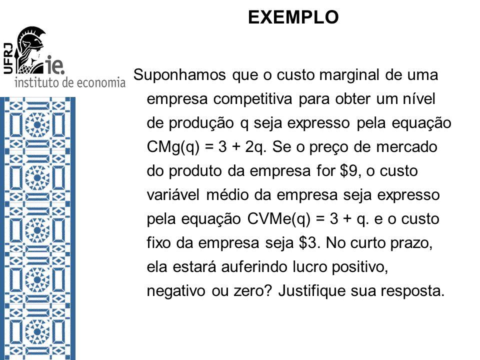 EXEMPLO Suponhamos que o custo marginal de uma empresa competitiva para obter um nível de produção q seja expresso pela equação CMg(q) = 3 + 2q. Se o