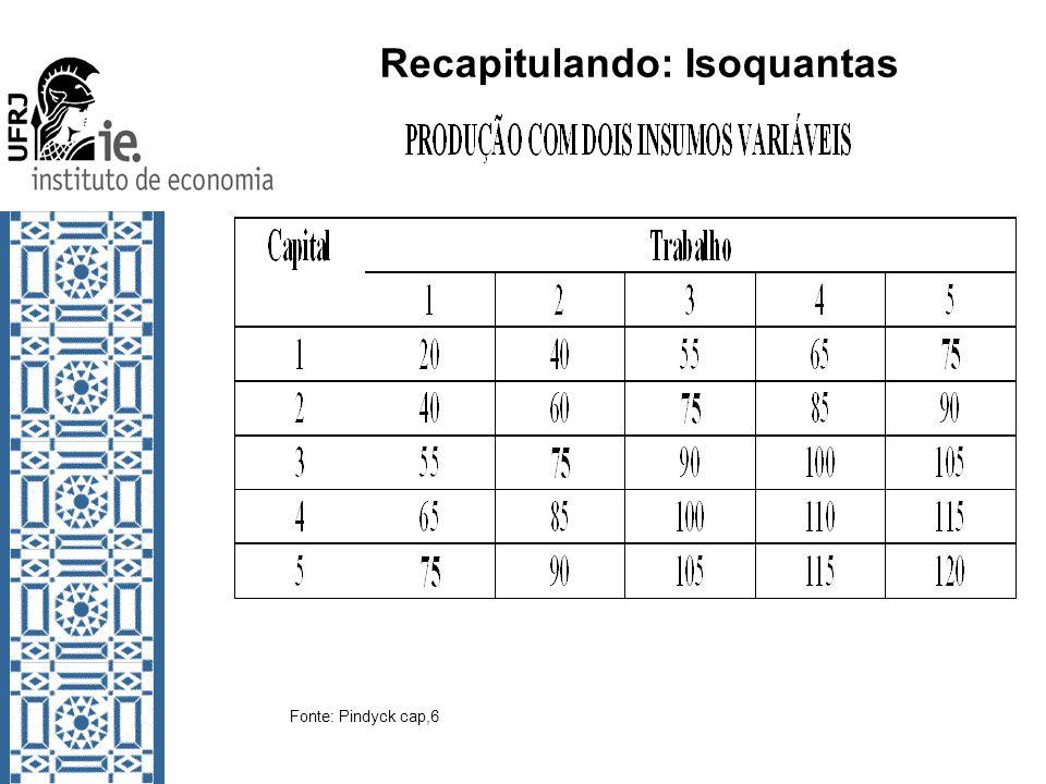 Recapitulando: Isoquantas Fonte: Pindyck cap,6