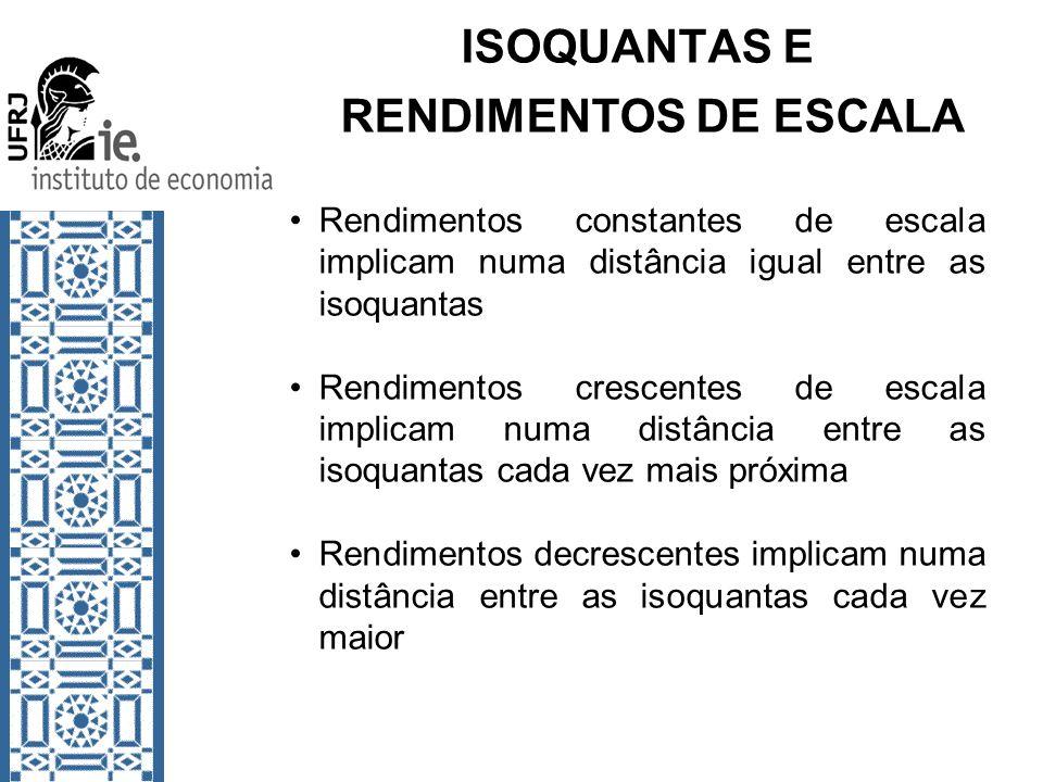 ISOQUANTAS E RENDIMENTOS DE ESCALA Rendimentos constantes de escala implicam numa distância igual entre as isoquantas Rendimentos crescentes de escala