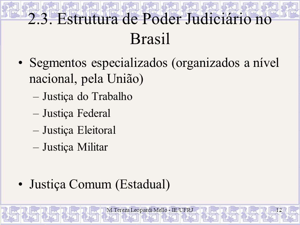M.Tereza Leopardi Mello - IE/UFRJ12 2.3. Estrutura de Poder Judiciário no Brasil Segmentos especializados (organizados a nível nacional, pela União) –