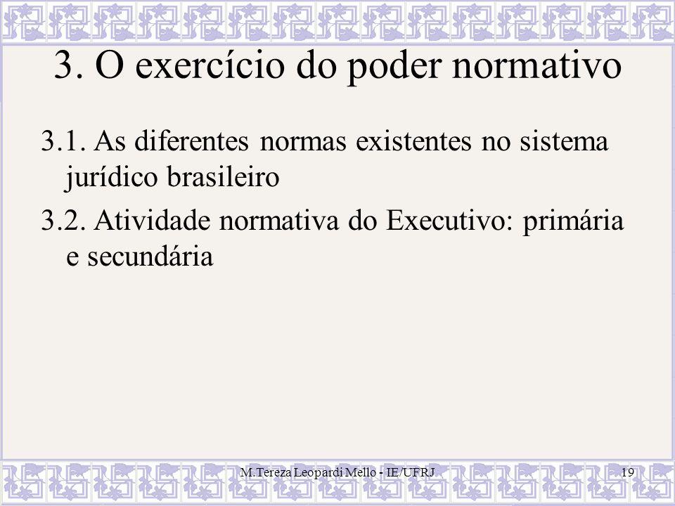M.Tereza Leopardi Mello - IE/UFRJ19 3. O exercício do poder normativo 3.1. As diferentes normas existentes no sistema jurídico brasileiro 3.2. Ativida