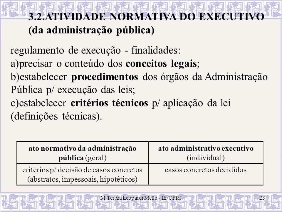 M.Tereza Leopardi Mello - IE/UFRJ23 3.2.ATIVIDADE NORMATIVA DO EXECUTIVO (da administração pública) ato normativo da administração pública (geral) ato