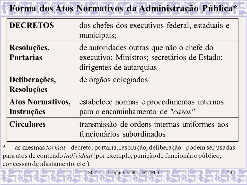 M.Tereza Leopardi Mello - IE/UFRJ24 Forma dos Atos Normativos da Administração Pública* DECRETOSdos chefes dos executivos federal, estaduais e municip