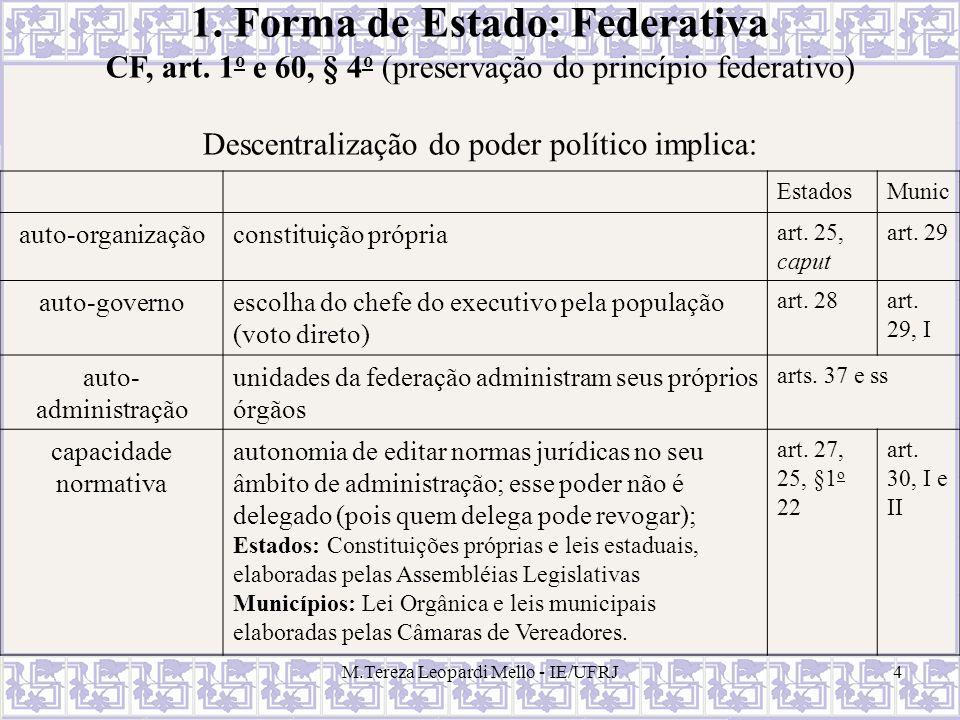 M.Tereza Leopardi Mello - IE/UFRJ4 1. Forma de Estado: Federativa CF, art. 1 o e 60, § 4 o (preservação do princípio federativo) Descentralização do p