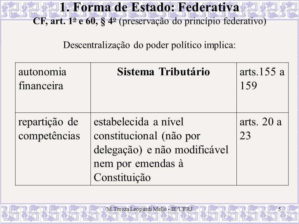 M.Tereza Leopardi Mello - IE/UFRJ5 1. Forma de Estado: Federativa CF, art. 1 o e 60, § 4 o (preservação do princípio federativo) Descentralização do p
