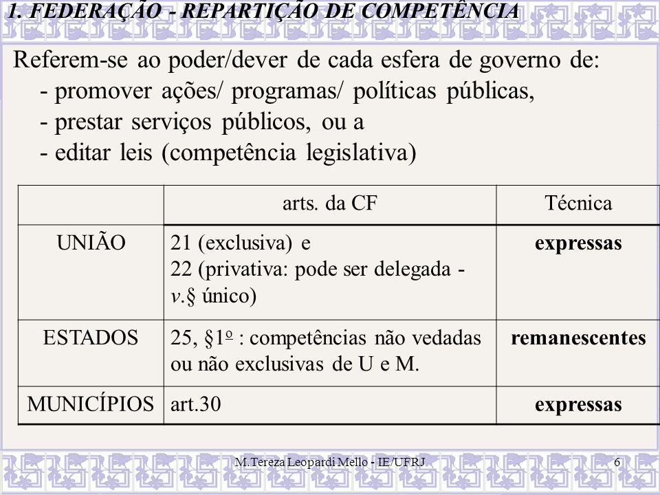 M.Tereza Leopardi Mello - IE/UFRJ6 1. FEDERAÇÃO - REPARTIÇÃO DE COMPETÊNCIA Referem-se ao poder/dever de cada esfera de governo de: - promover ações/