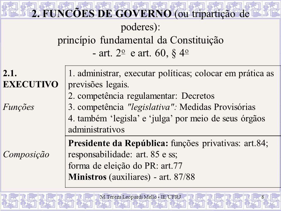 M.Tereza Leopardi Mello - IE/UFRJ8 2. FUNCÕES DE GOVERNO (ou tripartição de poderes): princípio fundamental da Constituição - art. 2 o e art. 60, § 4