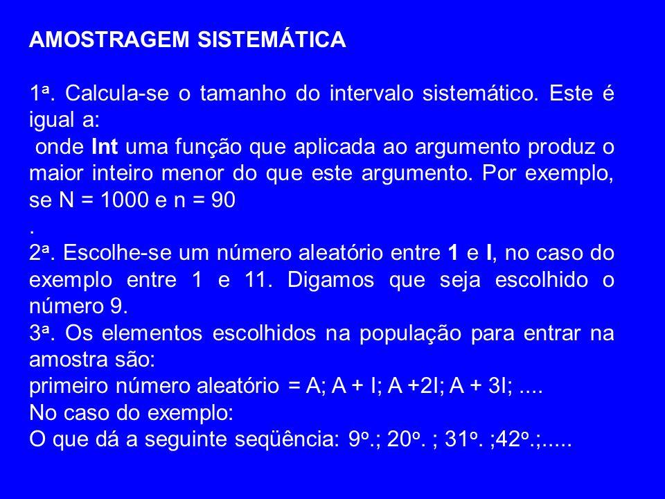 AMOSTRAGEM SISTEMÁTICA 1 a. Calcula-se o tamanho do intervalo sistemático. Este é igual a: onde Int uma função que aplicada ao argumento produz o maio
