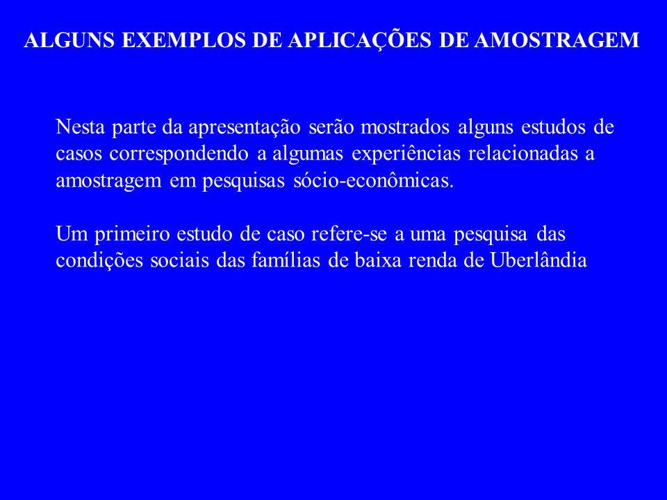 ALGUNS EXEMPLOS DE APLICAÇÕES DE AMOSTRAGEM Nesta parte da apresentação serão mostrados alguns estudos de casos correspondendo a algumas experiências