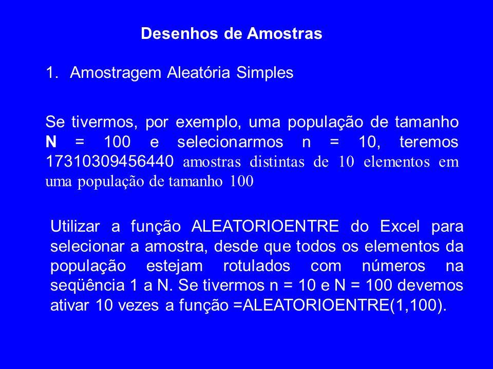 Desenhos de Amostras 1.Amostragem Aleatória Simples Se tivermos, por exemplo, uma população de tamanho N = 100 e selecionarmos n = 10, teremos 1731030