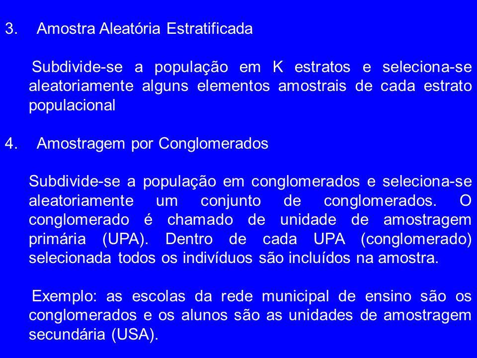 5.Amostragem por Conglomerados em Múltiplos Estágios Seleciona-se aleatoriamente os conglomerados (UPAs) e dentro de cada UPA selecionado seleciona-se aleatoriamente as USAs.Os UPAs podem ser selecionados com probabilidade proporcional ao tamanho (PPT) Exemplo: Na PNAD (Pesquisa Nacional por Amostra Domiciliar) são selecionados primeiramente os municípios (UPAs) com Probabilidade proporcional ao tamanho (número de domicílios).