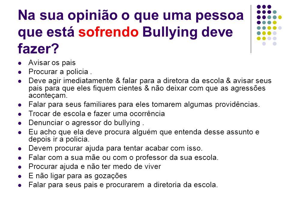 Na sua opinião o que uma pessoa que está sofrendo Bullying deve fazer? Avisar os pais Procurar a policia. Deve agir imediatamente & falar para a diret