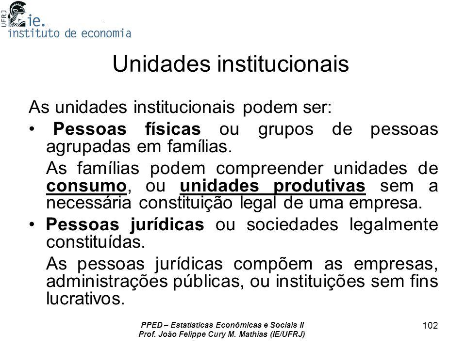 PPED – Estatísticas Econômicas e Sociais II Prof. João Felippe Cury M. Mathias (IE/UFRJ) 102 Unidades institucionais As unidades institucionais podem