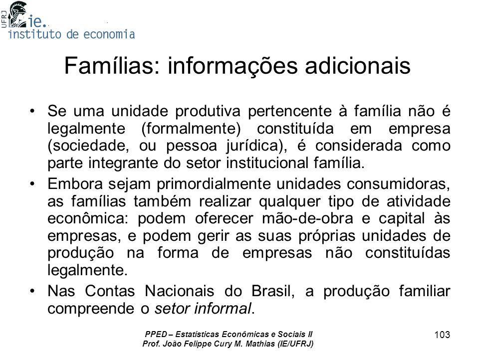PPED – Estatísticas Econômicas e Sociais II Prof. João Felippe Cury M. Mathias (IE/UFRJ) 103 Famílias: informações adicionais Se uma unidade produtiva
