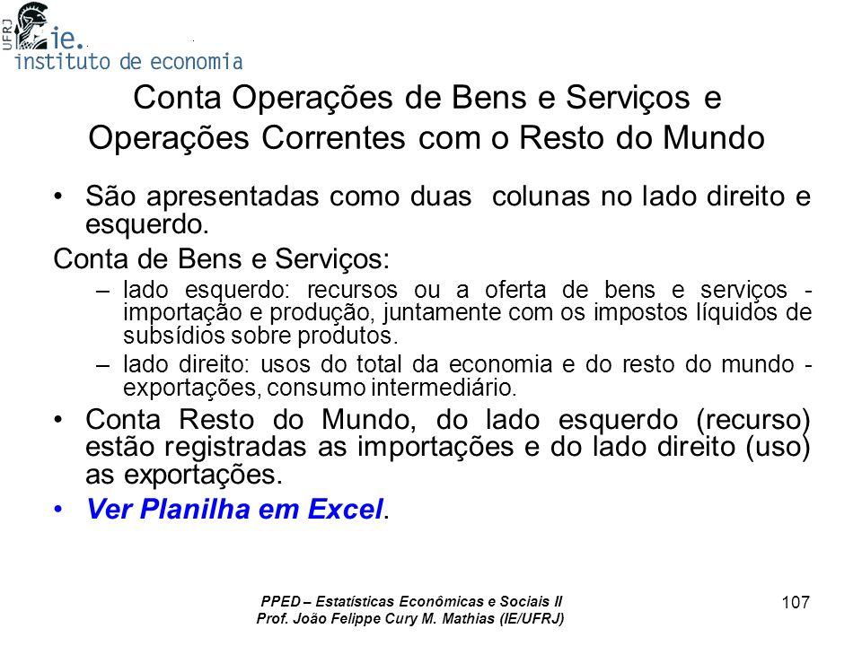 PPED – Estatísticas Econômicas e Sociais II Prof. João Felippe Cury M. Mathias (IE/UFRJ) 107 Conta Operações de Bens e Serviços e Operações Correntes