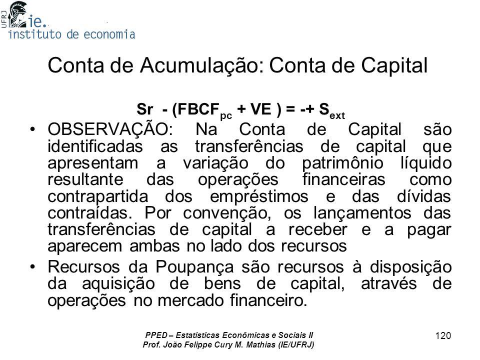 PPED – Estatísticas Econômicas e Sociais II Prof. João Felippe Cury M. Mathias (IE/UFRJ) 120 Conta de Acumulação: Conta de Capital Sr - (FBCF pc + VE