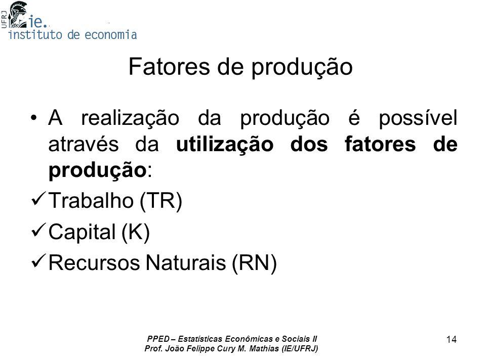 PPED – Estatísticas Econômicas e Sociais II Prof. João Felippe Cury M. Mathias (IE/UFRJ) 14 Fatores de produção A realização da produção é possível at