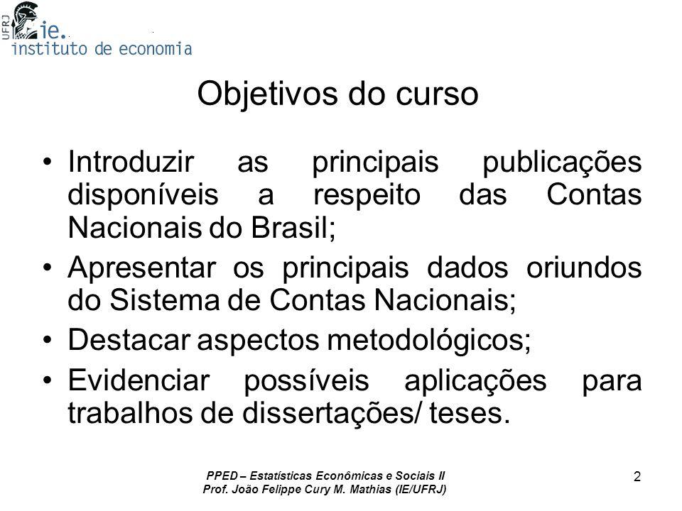PPED – Estatísticas Econômicas e Sociais II Prof. João Felippe Cury M. Mathias (IE/UFRJ) 2 Objetivos do curso Introduzir as principais publicações dis