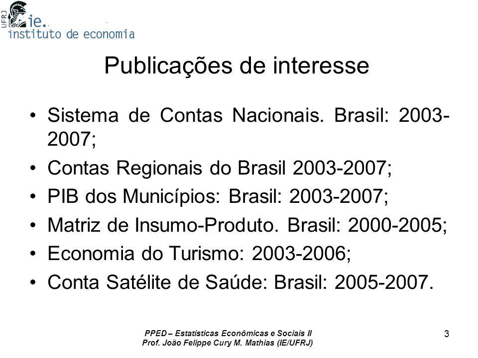 PPED – Estatísticas Econômicas e Sociais II Prof. João Felippe Cury M. Mathias (IE/UFRJ) 3 Publicações de interesse Sistema de Contas Nacionais. Brasi