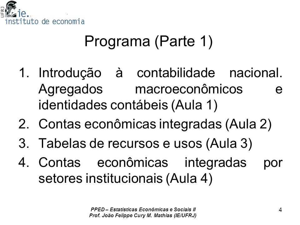 PPED – Estatísticas Econômicas e Sociais II Prof. João Felippe Cury M. Mathias (IE/UFRJ) 4 Programa (Parte 1) 1.Introdução à contabilidade nacional. A