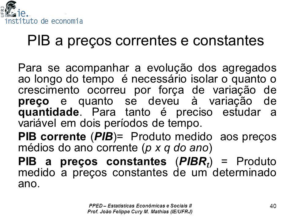 PPED – Estatísticas Econômicas e Sociais II Prof. João Felippe Cury M. Mathias (IE/UFRJ) 40 PIB a preços correntes e constantes Para se acompanhar a e
